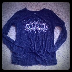 Awesome Girl's Long Sleeve Shirt with Glitter